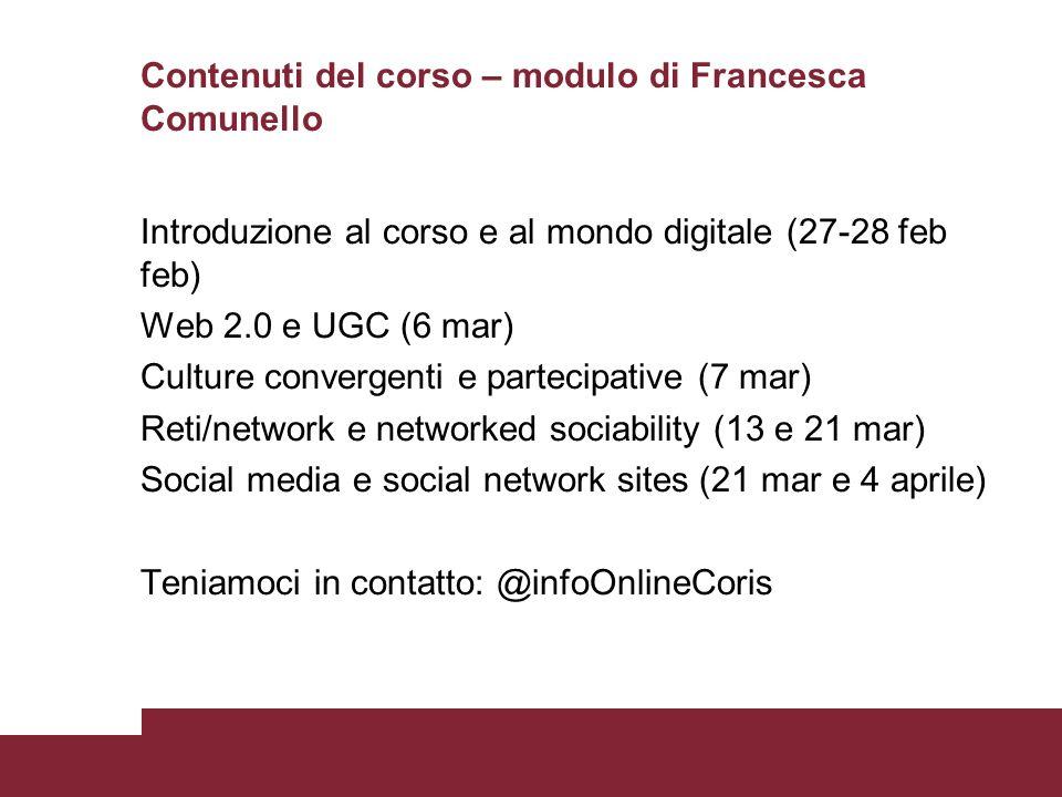 Contenuti del corso – modulo di Francesca Comunello