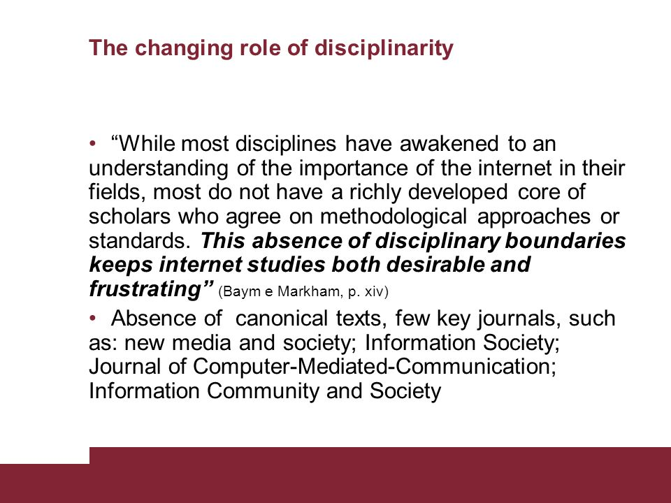 The changing role of disciplinarity