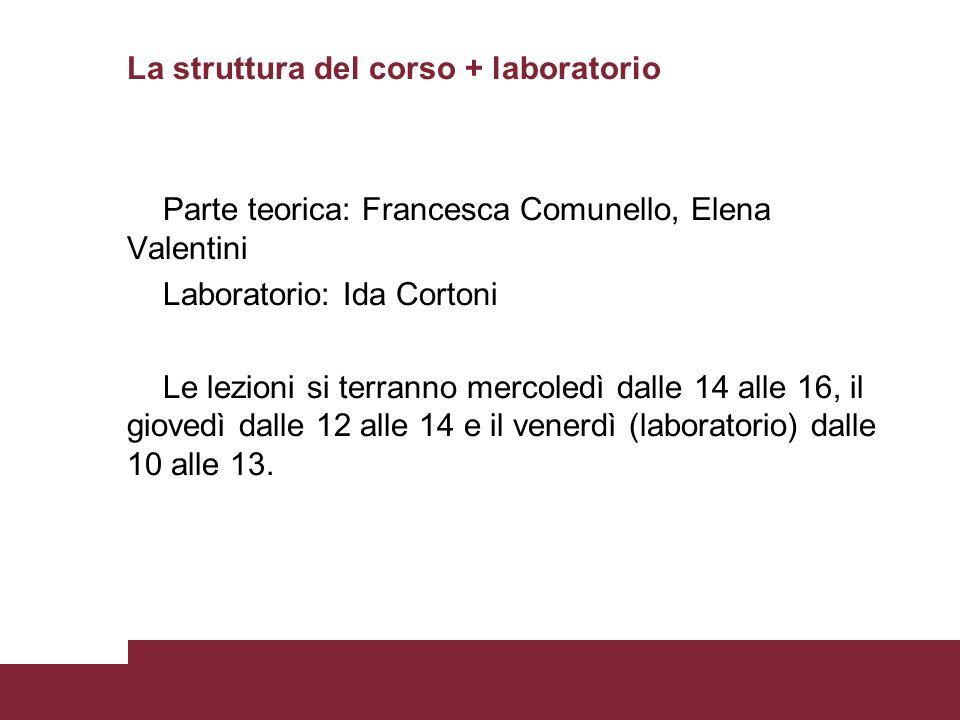 La struttura del corso + laboratorio