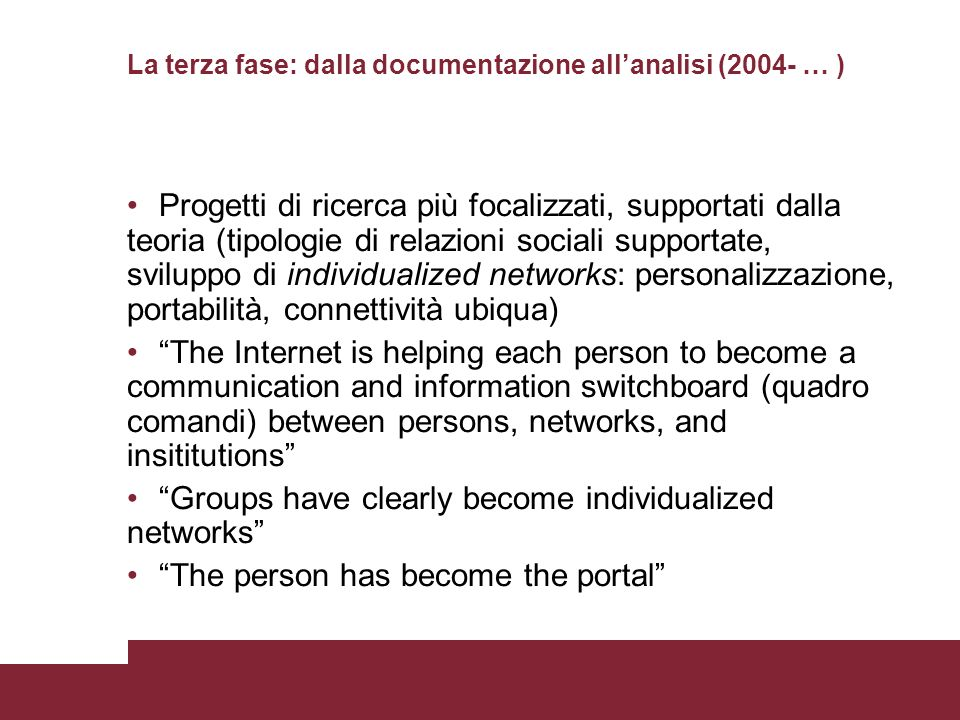 La terza fase: dalla documentazione all'analisi (2004- … )