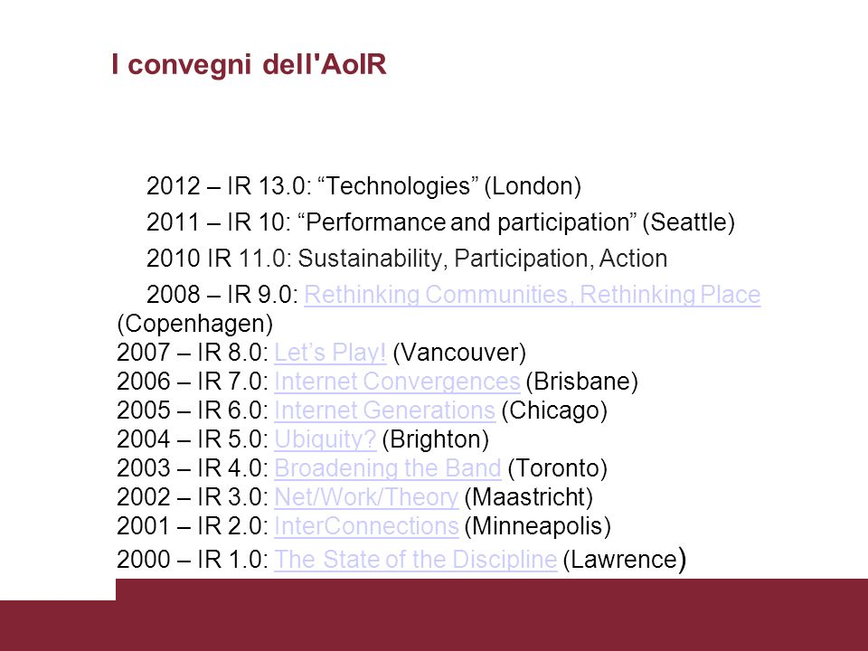 I convegni dell AoIR 2012 – IR 13.0: Technologies (London)
