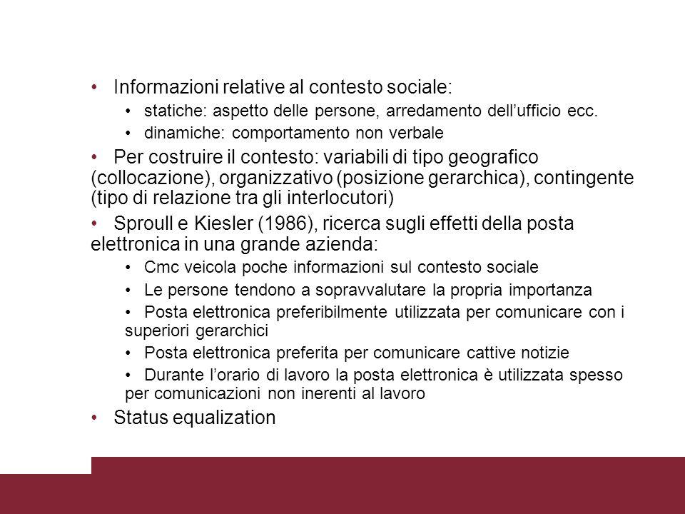 Informazioni relative al contesto sociale: