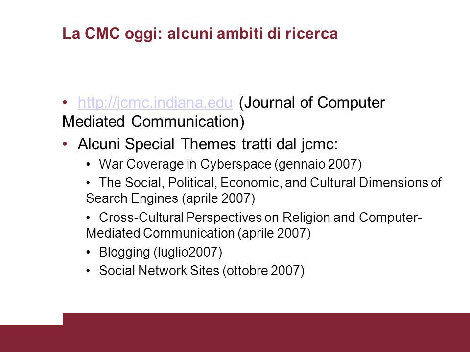 La CMC oggi: alcuni ambiti di ricerca