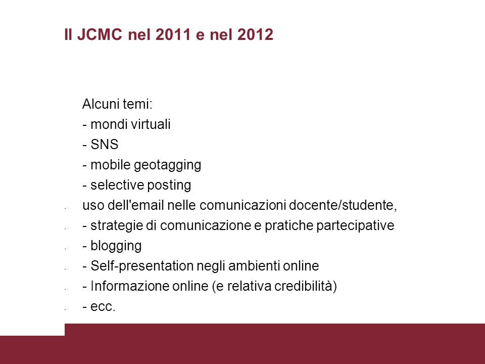 Il JCMC nel 2011 e nel 2012 Alcuni temi: - mondi virtuali - SNS