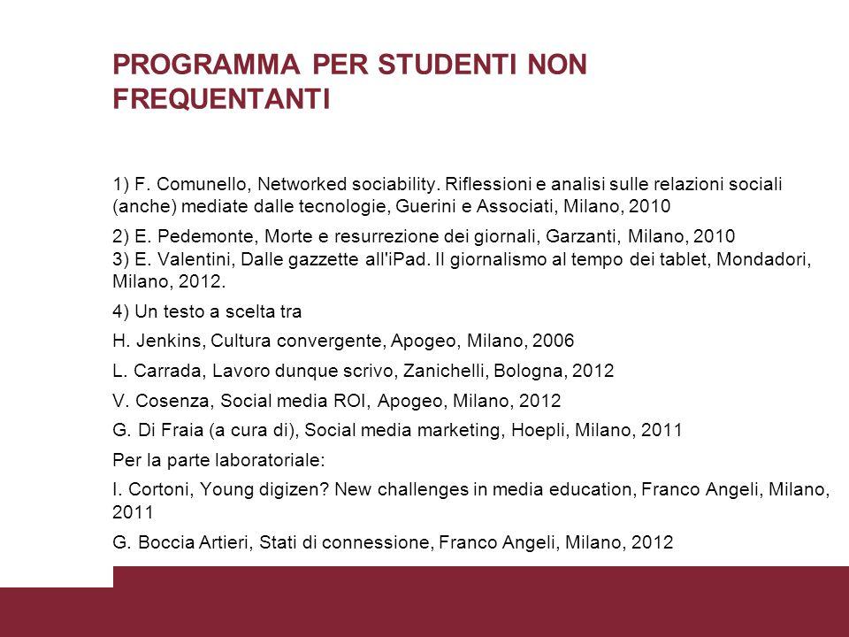 PROGRAMMA PER STUDENTI NON FREQUENTANTI