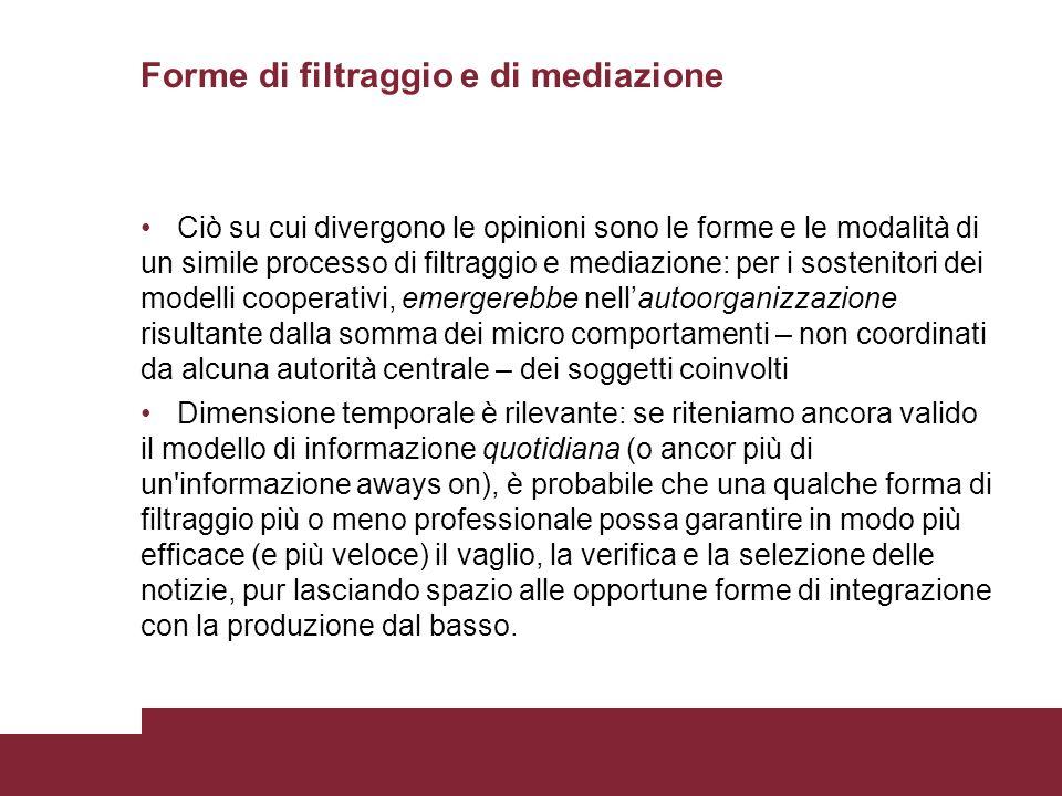 Forme di filtraggio e di mediazione