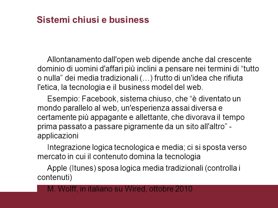 Sistemi chiusi e business