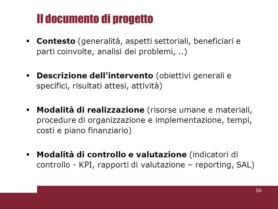 Il documento di progetto