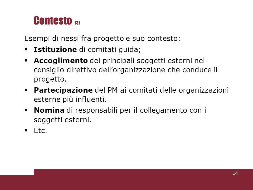 Contesto (3) Esempi di nessi fra progetto e suo contesto: