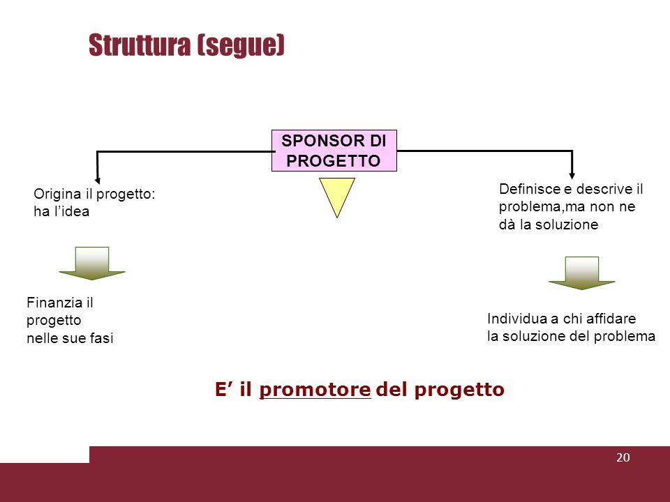 Struttura (segue) E' il promotore del progetto SPONSOR DI PROGETTO