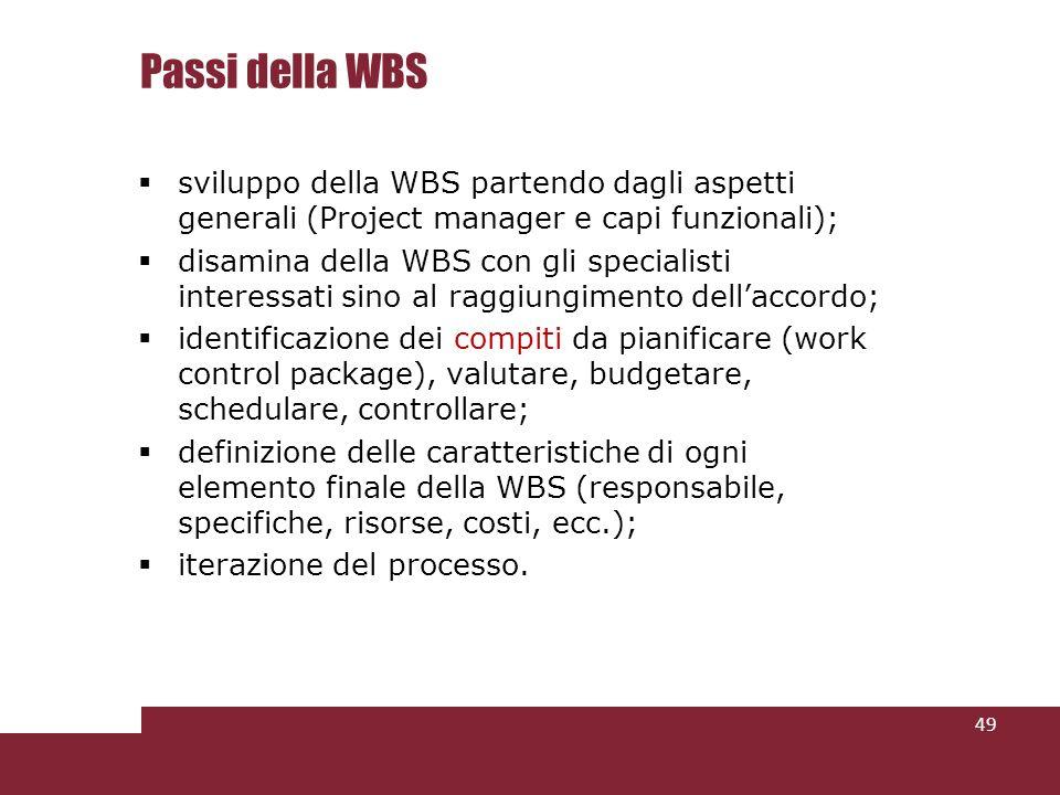 Passi della WBS sviluppo della WBS partendo dagli aspetti generali (Project manager e capi funzionali);