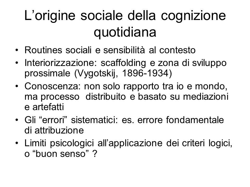 L'origine sociale della cognizione quotidiana