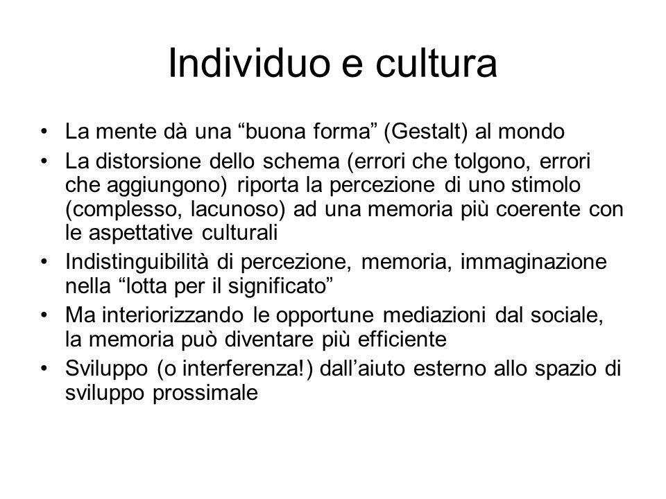 Individuo e cultura La mente dà una buona forma (Gestalt) al mondo
