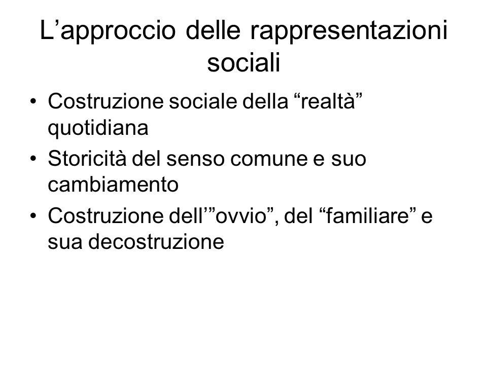 L'approccio delle rappresentazioni sociali