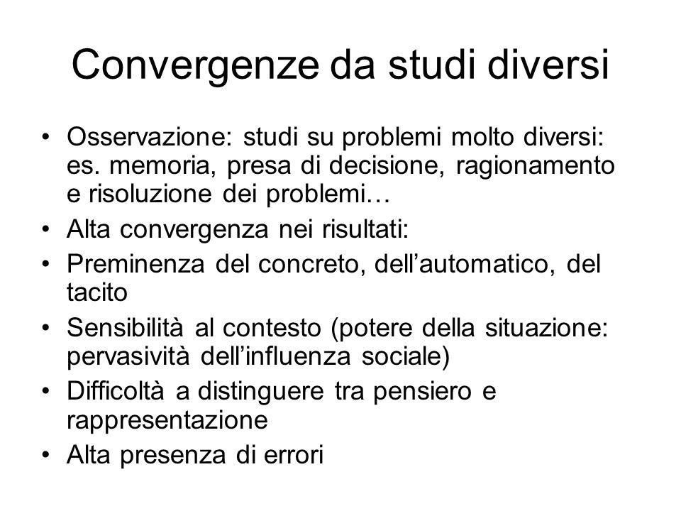 Convergenze da studi diversi