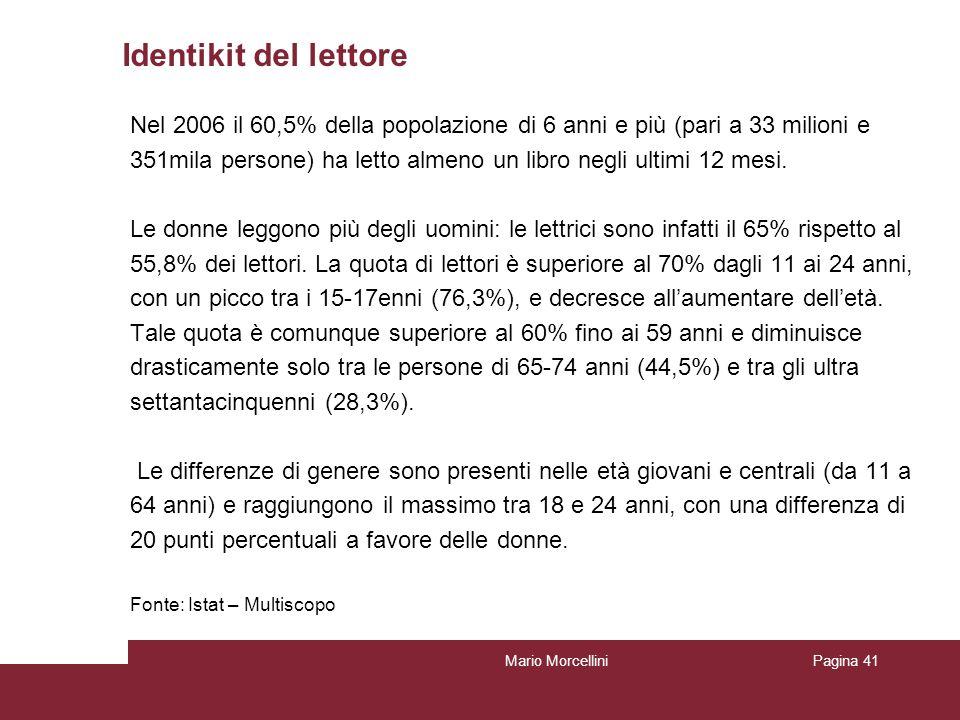 Identikit del lettore Nel 2006 il 60,5% della popolazione di 6 anni e più (pari a 33 milioni e.