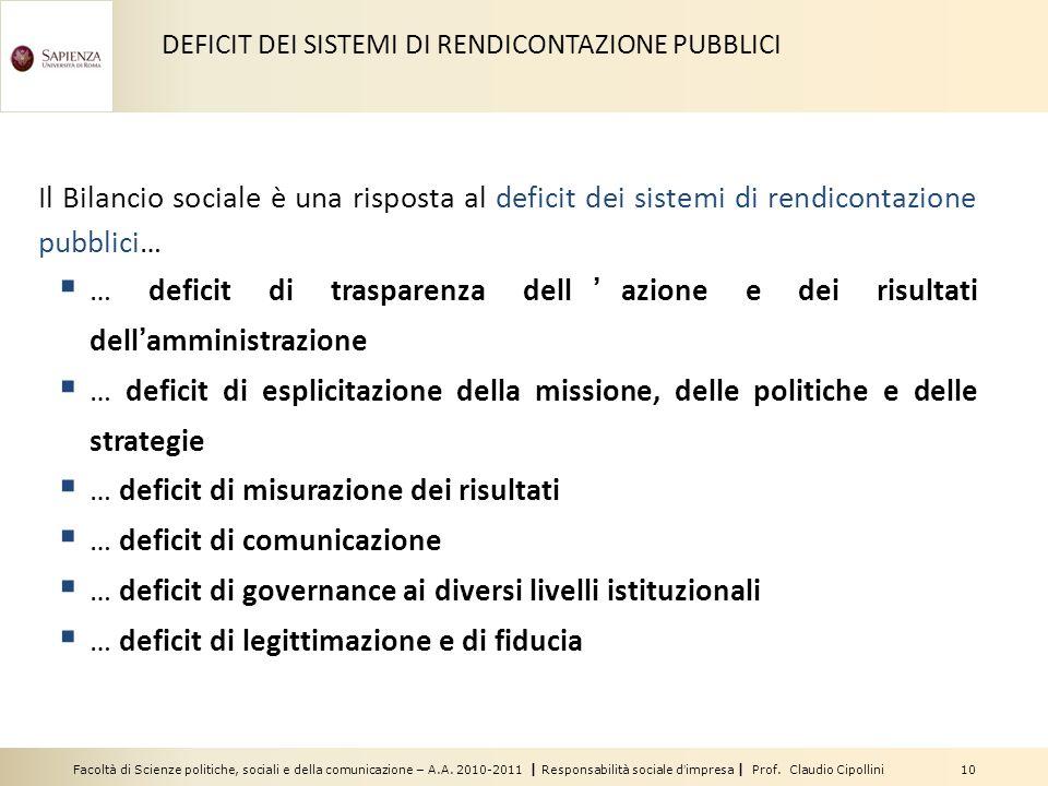 … deficit di misurazione dei risultati … deficit di comunicazione