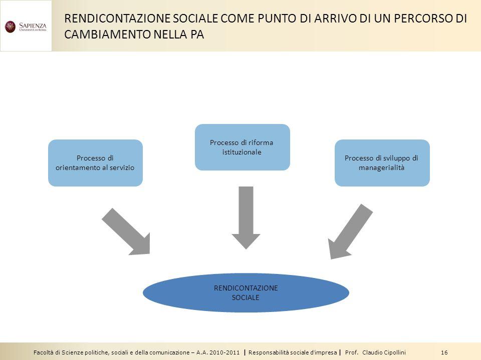 RENDICONTAZIONE SOCIALE COME PUNTO DI ARRIVO DI UN PERCORSO DI CAMBIAMENTO NELLA PA