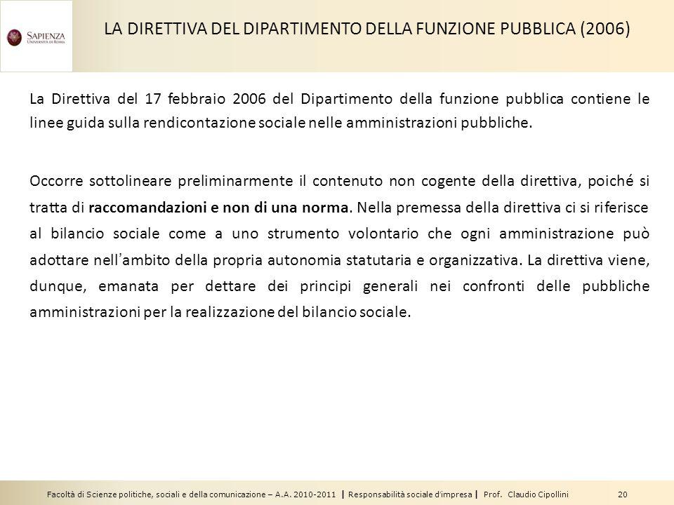 LA DIRETTIVA DEL DIPARTIMENTO DELLA FUNZIONE PUBBLICA (2006)