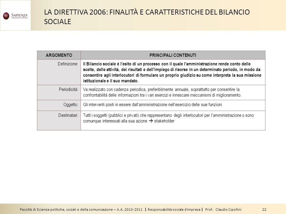 LA DIRETTIVA 2006: FINALITÀ E CARATTERISTICHE DEL BILANCIO SOCIALE