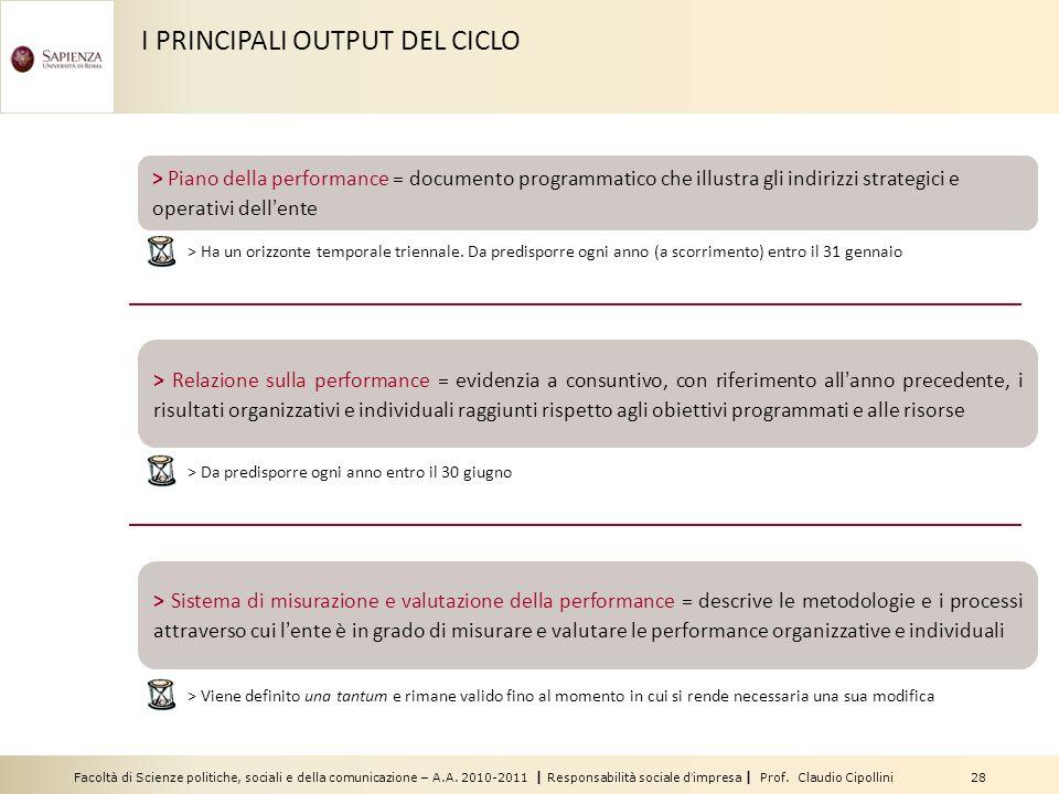 I PRINCIPALI OUTPUT DEL CICLO