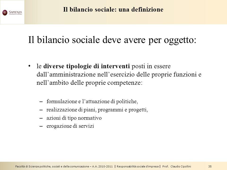 Il bilancio sociale: una definizione