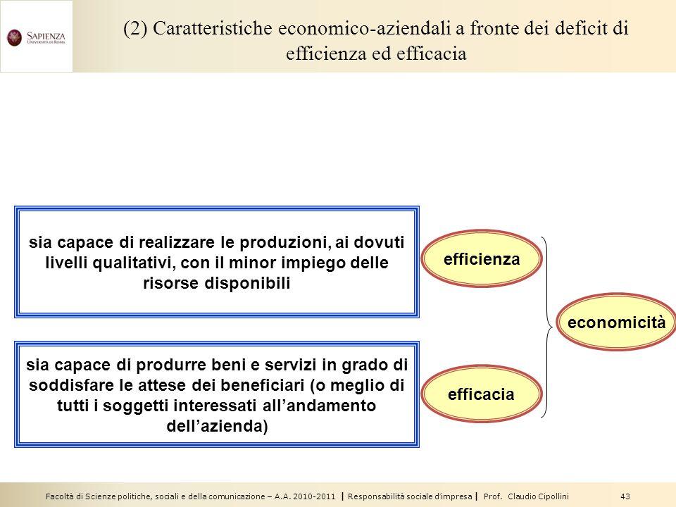 (2) Caratteristiche economico-aziendali a fronte dei deficit di efficienza ed efficacia