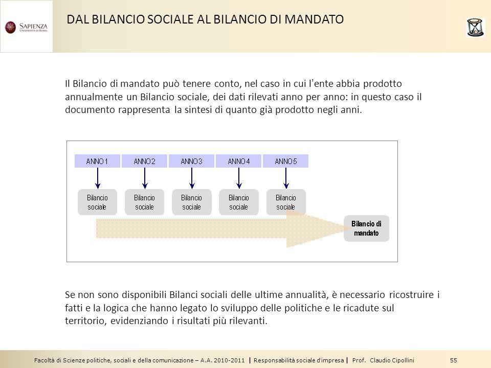 DAL BILANCIO SOCIALE AL BILANCIO DI MANDATO