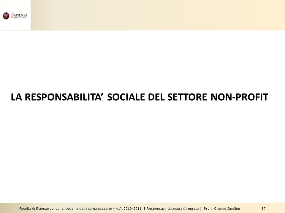 LA RESPONSABILITA' SOCIALE DEL SETTORE NON-PROFIT