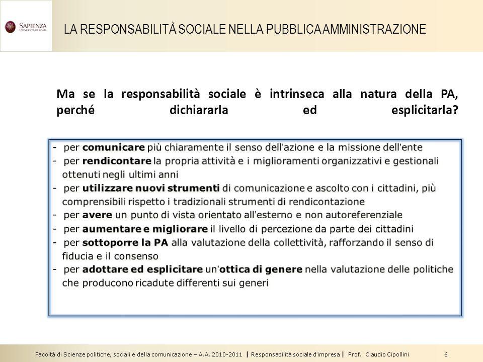 LA RESPONSABILITÀ SOCIALE NELLA PUBBLICA AMMINISTRAZIONE