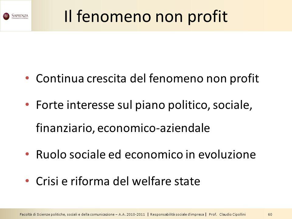Il fenomeno non profit Continua crescita del fenomeno non profit