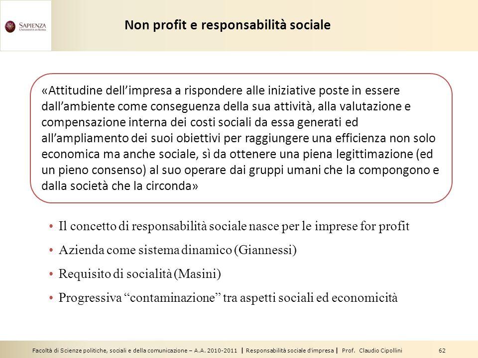 Non profit e responsabilità sociale