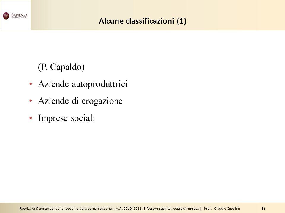 Alcune classificazioni (1)