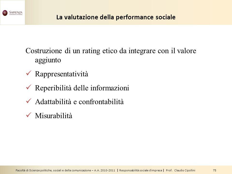 La valutazione della performance sociale