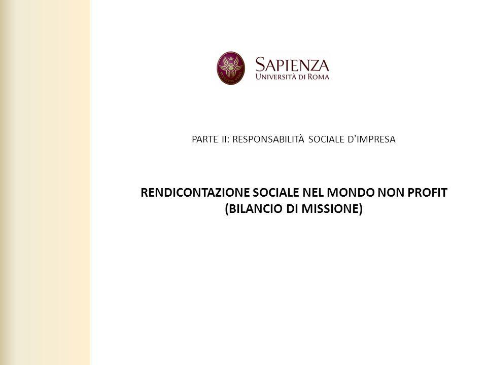 RENDICONTAZIONE SOCIALE NEL MONDO NON PROFIT (BILANCIO DI MISSIONE)