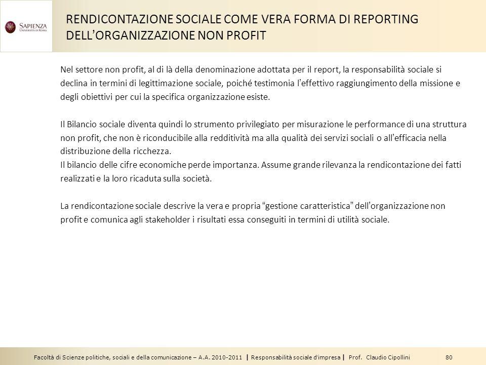 RENDICONTAZIONE SOCIALE COME VERA FORMA DI REPORTING DELL'ORGANIZZAZIONE NON PROFIT