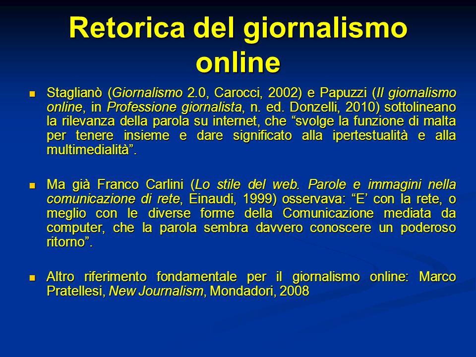 Retorica del giornalismo online