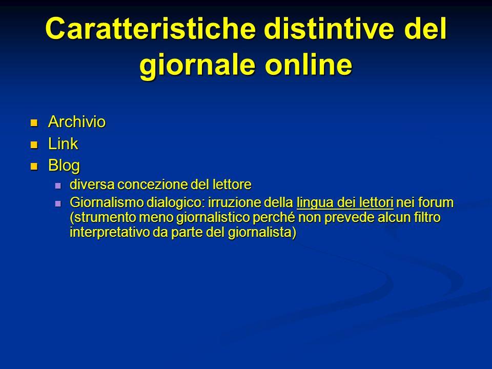 Caratteristiche distintive del giornale online