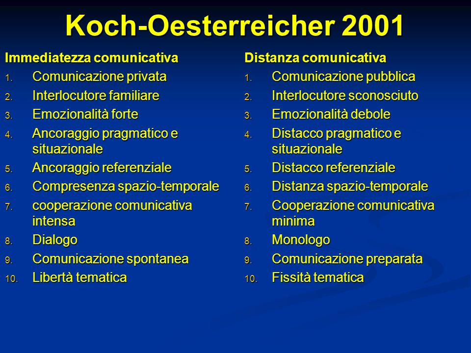 Koch-Oesterreicher 2001 Immediatezza comunicativa
