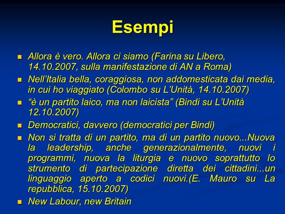 Esempi Allora è vero. Allora ci siamo (Farina su Libero, 14.10.2007, sulla manifestazione di AN a Roma)