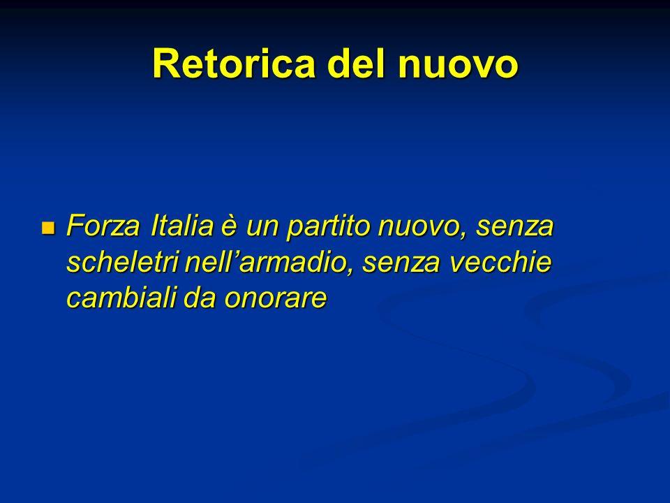 Retorica del nuovo Forza Italia è un partito nuovo, senza scheletri nell'armadio, senza vecchie cambiali da onorare.
