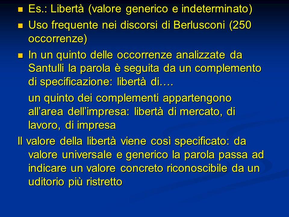 Es.: Libertà (valore generico e indeterminato)