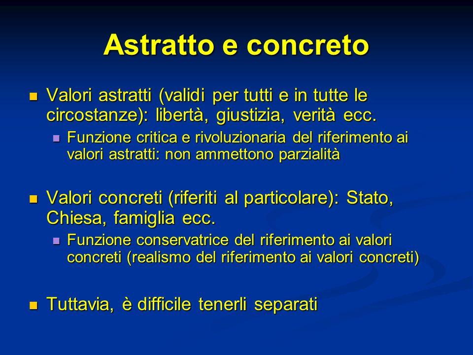 Astratto e concreto Valori astratti (validi per tutti e in tutte le circostanze): libertà, giustizia, verità ecc.
