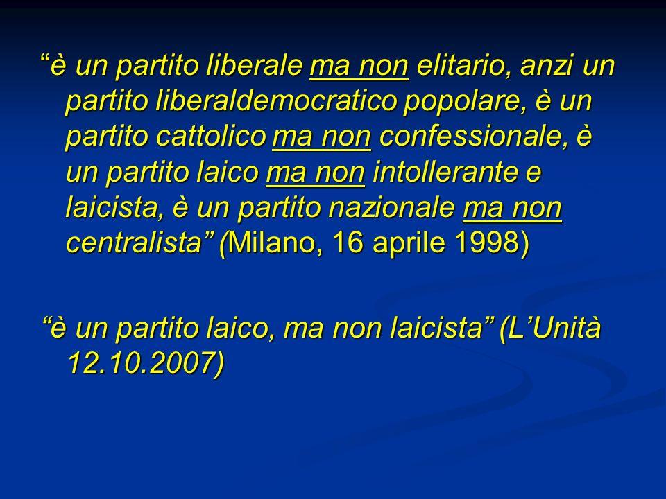 è un partito liberale ma non elitario, anzi un partito liberaldemocratico popolare, è un partito cattolico ma non confessionale, è un partito laico ma non intollerante e laicista, è un partito nazionale ma non centralista (Milano, 16 aprile 1998)