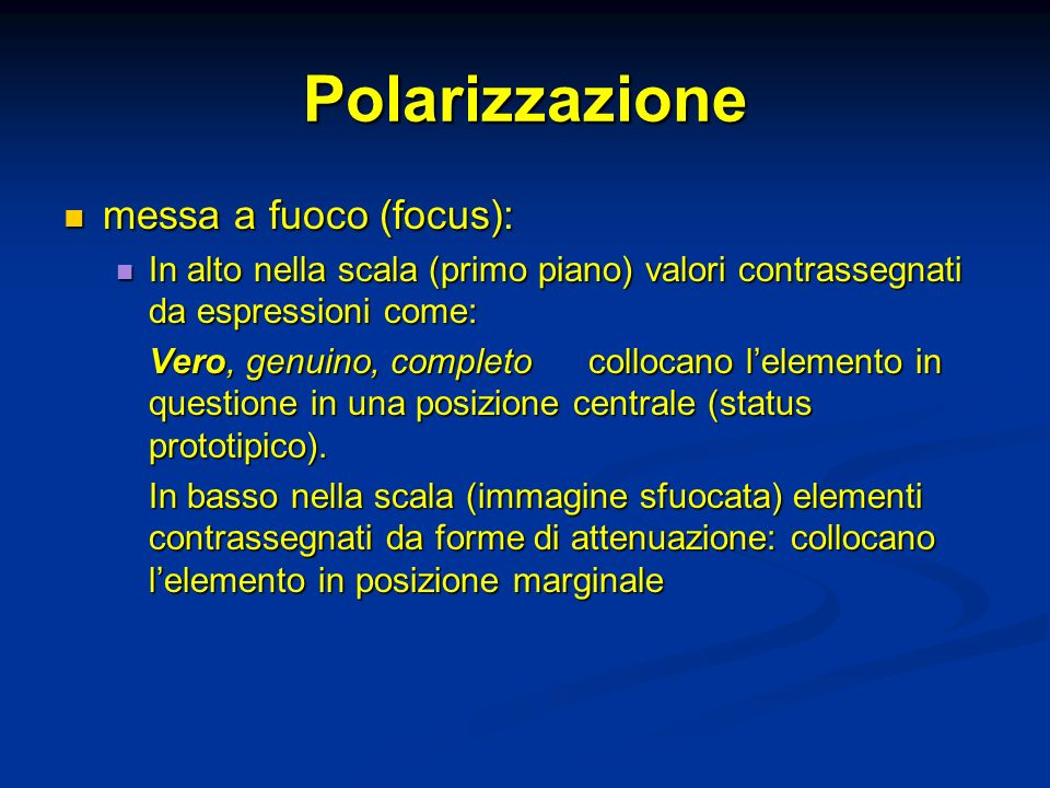 Polarizzazione messa a fuoco (focus):