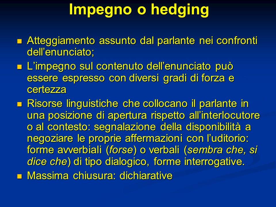 Impegno o hedging Atteggiamento assunto dal parlante nei confronti dell'enunciato;