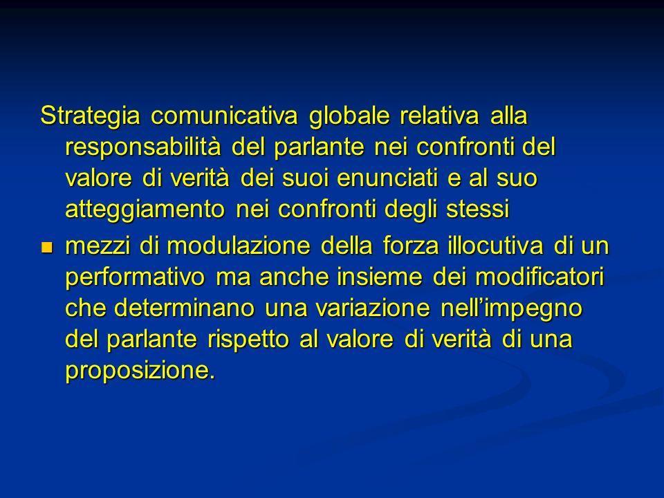 Strategia comunicativa globale relativa alla responsabilità del parlante nei confronti del valore di verità dei suoi enunciati e al suo atteggiamento nei confronti degli stessi