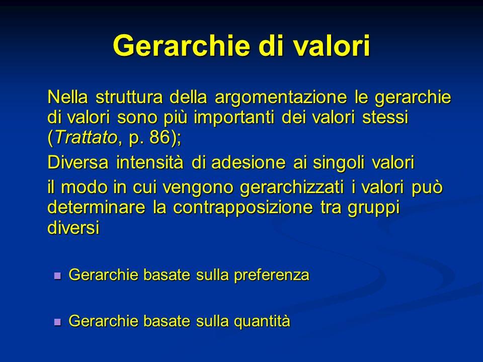 Gerarchie di valori Nella struttura della argomentazione le gerarchie di valori sono più importanti dei valori stessi (Trattato, p. 86);