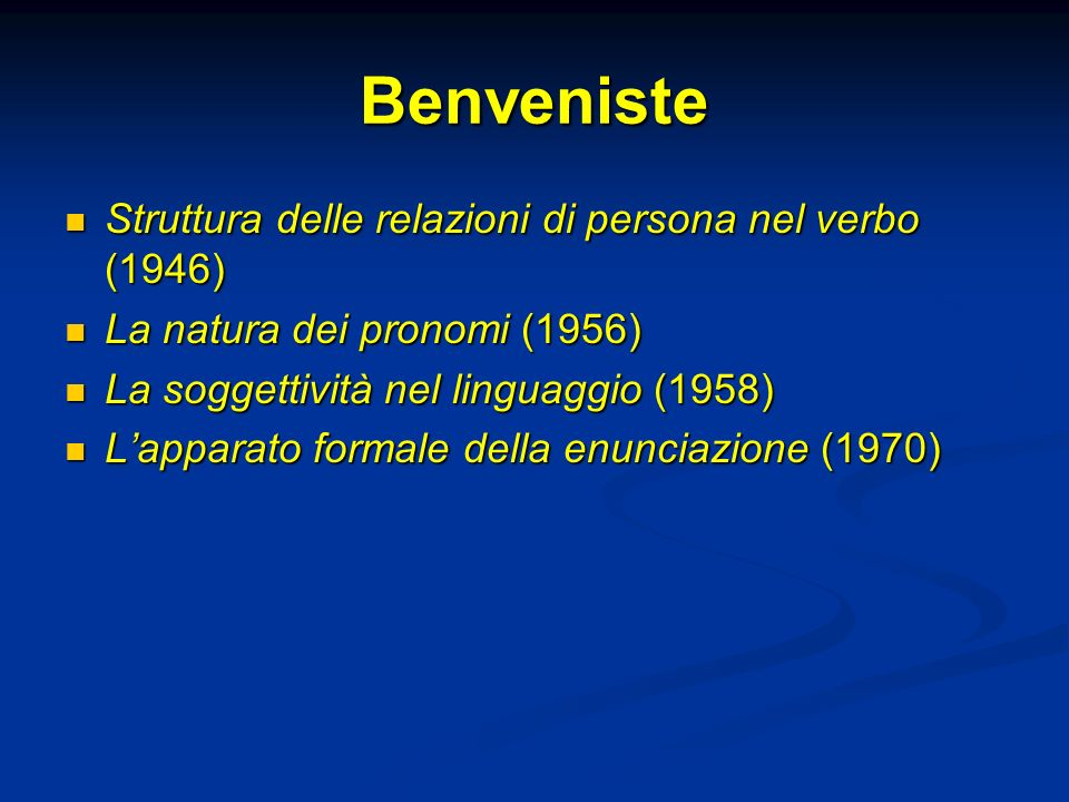 Benveniste Struttura delle relazioni di persona nel verbo (1946)