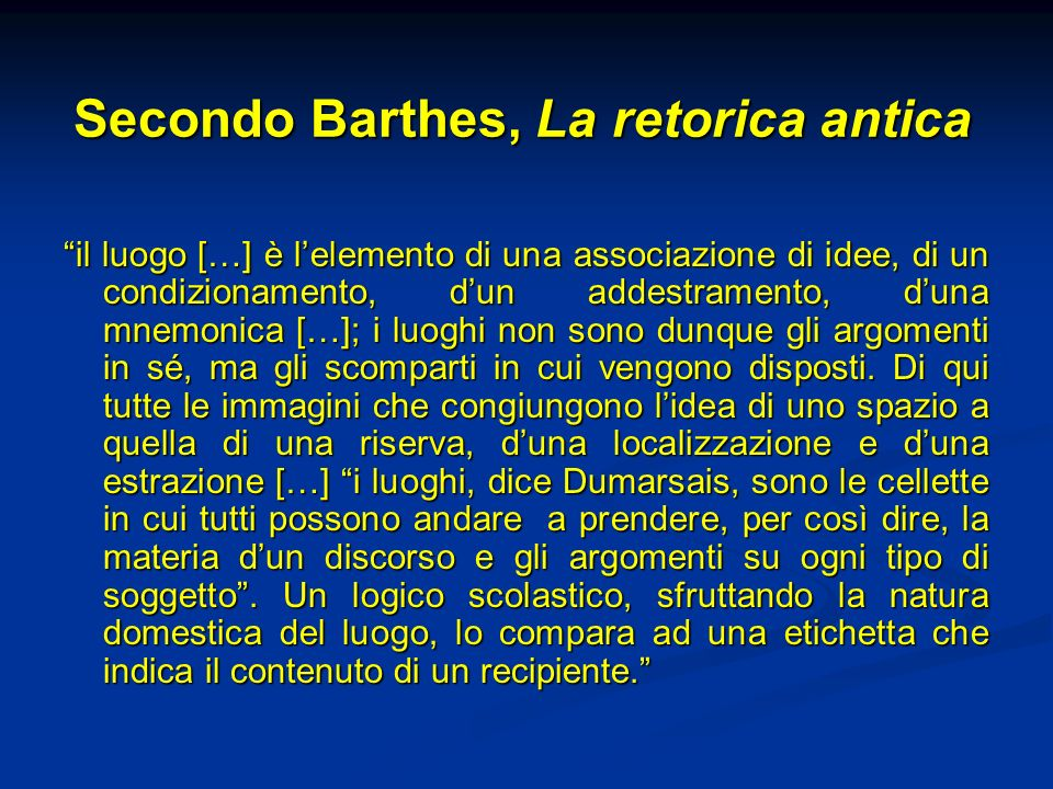 Secondo Barthes, La retorica antica